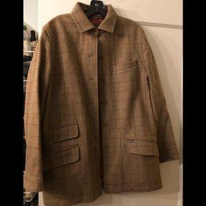 Faconnable Plaid Pea Coat - wool